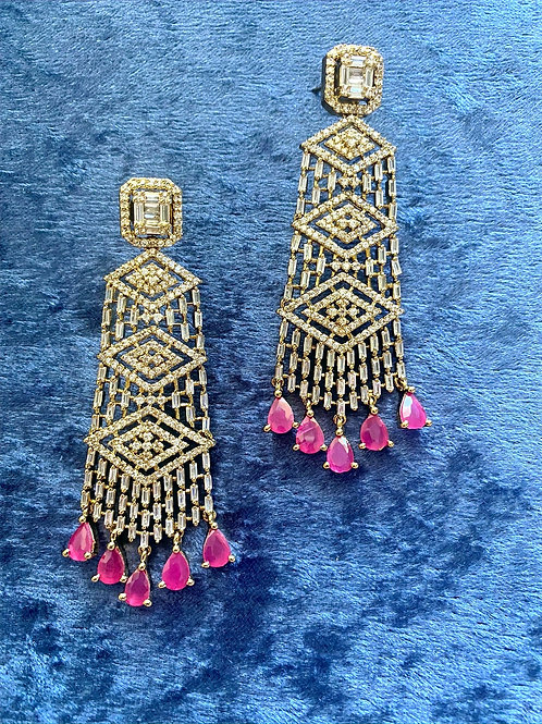 Zirconia Earrings with Ruby Stones