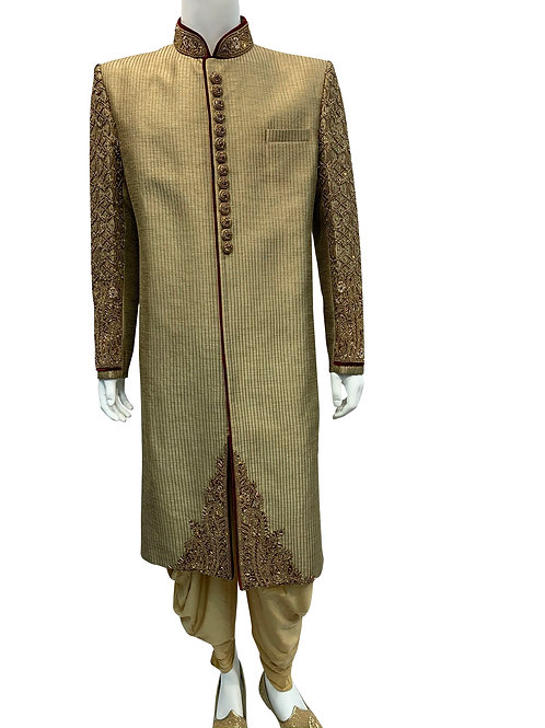 Beige Sherwani with Heavy Embroidery on Arms