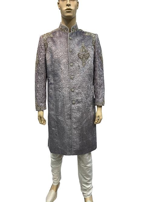 Grey Velvet and Silver Sherwani