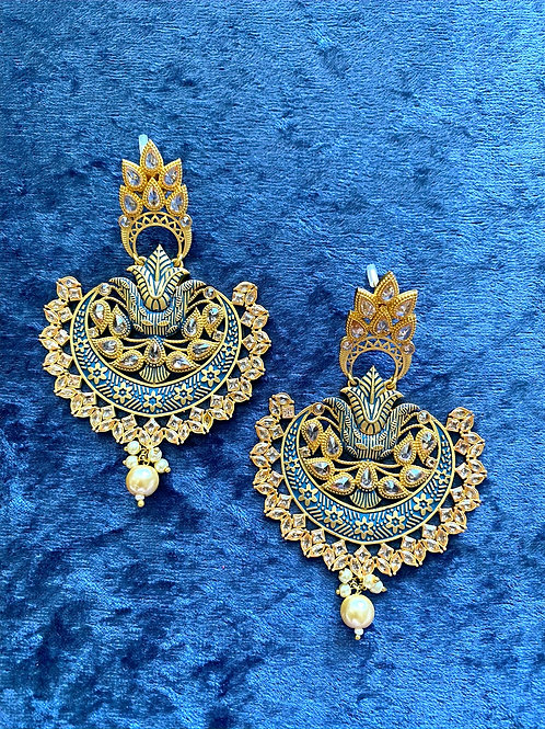 Hand-Painted Meenakari Earrings in Navy Blue, Rusty Red or Magenta Pink
