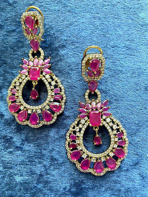 Zirconia and Ruby Stones on Antique Gold