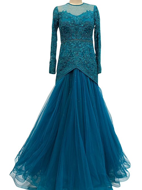 Teal Beaded Gown