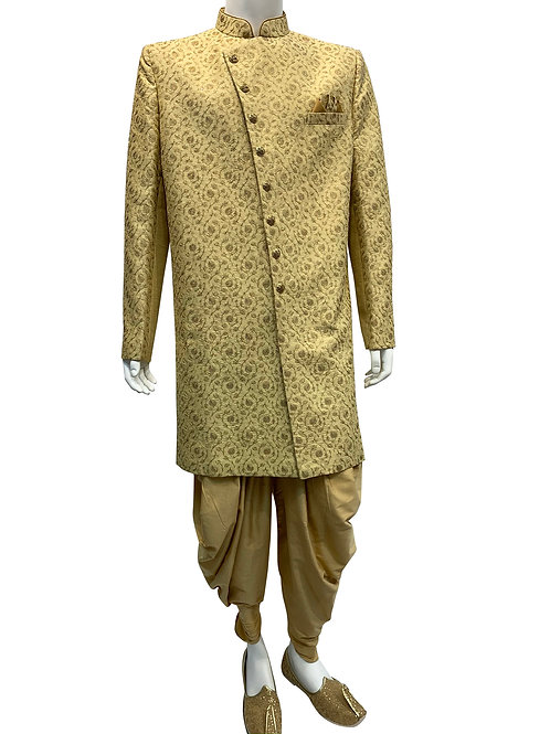 Beige with Gold Thread Embroidery Sherwani