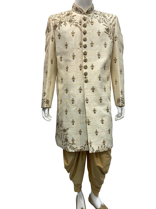 Cream Silk with Gold Thread Sherwani