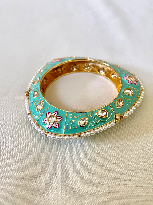 Teal and Pink Floral Hand-painted Meenakari Bangle with Pearls