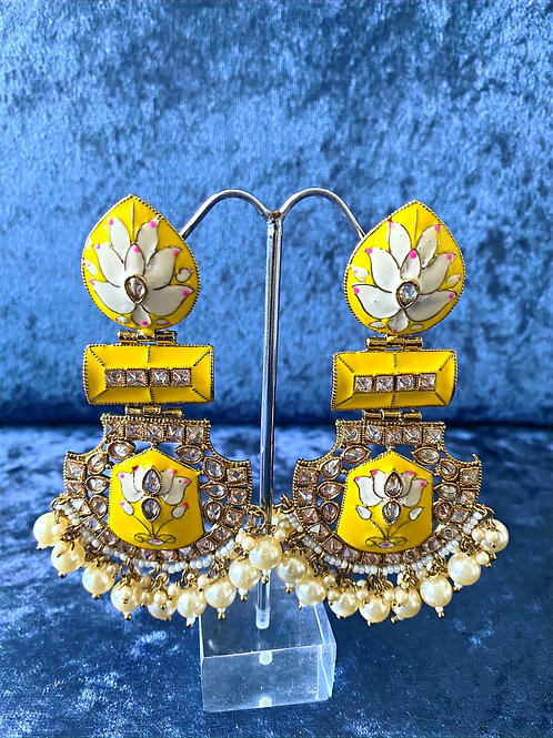 Hand-Painted Meenakari Earrings in Yellow/Blue/Turquoise/Red with Pearls
