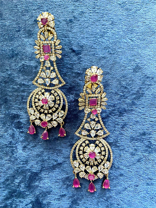 Zirconia Earrings with Ruby Stones and Crystals