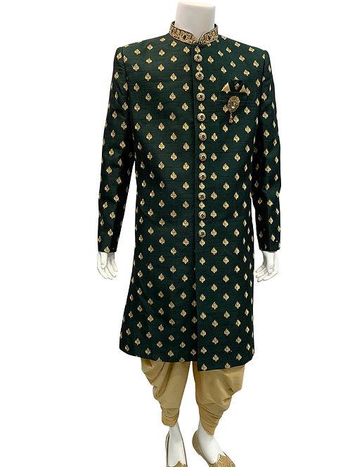 Dark Green Embroidery Sherwani