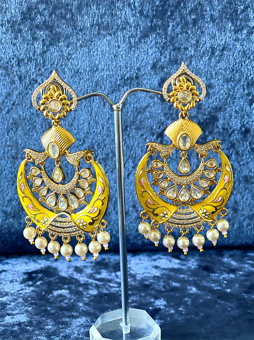 Yellow and Gold Hand-Painted Meenakari Earrings with Pearls