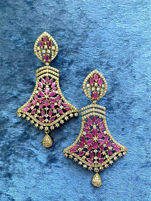 Antique Gold Earrings with Ruby Stones and Zirconia