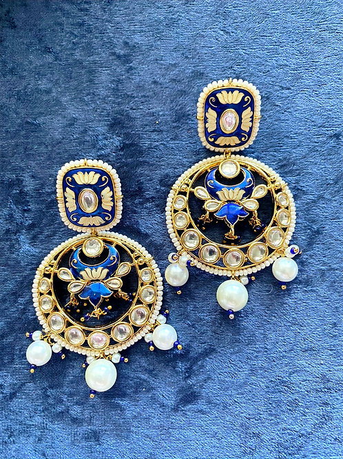 Meenakari Blue Kundan Earrings with Pearls