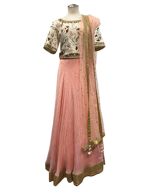 Coral Pink Embroidery Lehenga size 42
