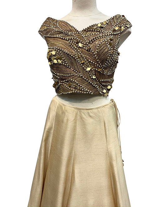 Beige Pure Raw Silk Lehenga , off shoulder blouse