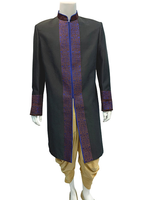 Black Silk Sherwani with Front Blue Cutwork