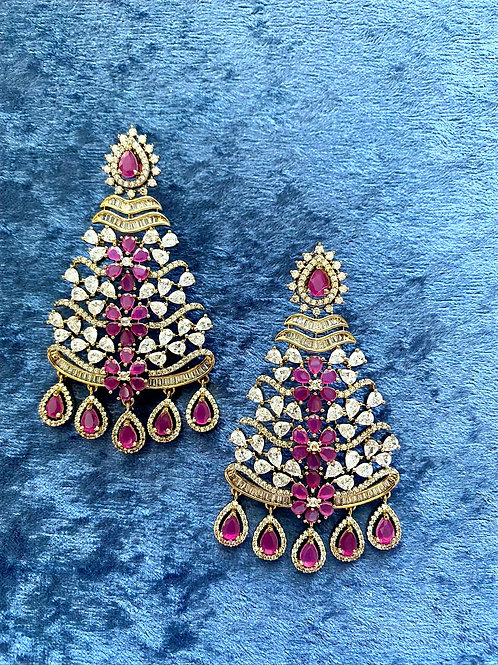 Zirconia Earrings on Antique Gold, Silver or Antique Gold with Ruby Stones