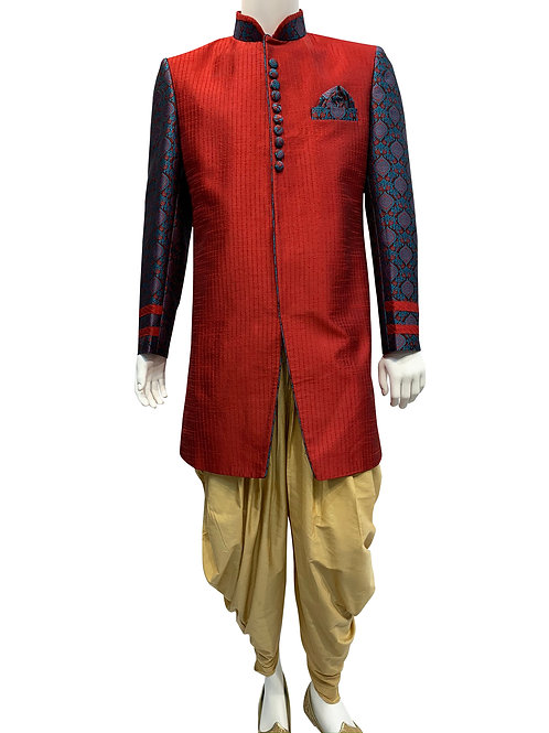 Red Silk with Brocade Fabric Sherwani