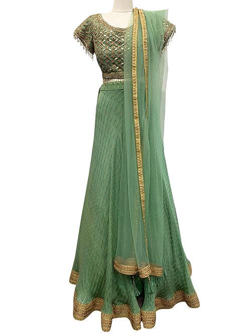 Green Art Silk  Sequin Lehenga