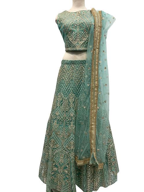 Green Heavy Embroidery lehenga