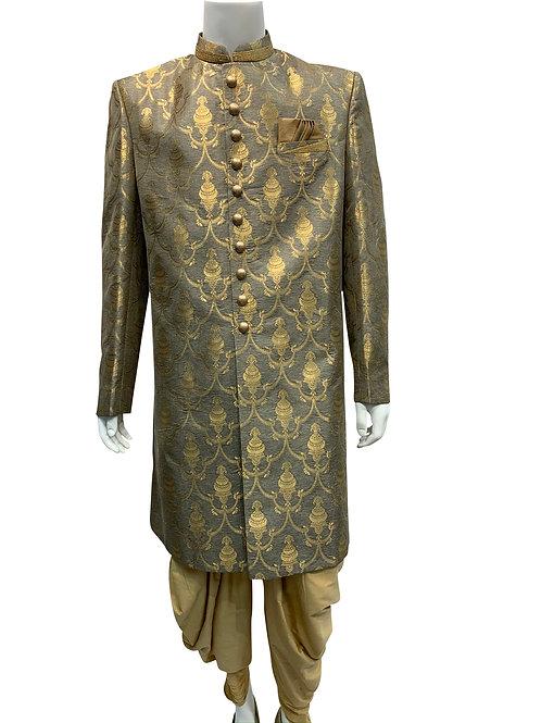 Grey Banarsi Jacquard Sherwani