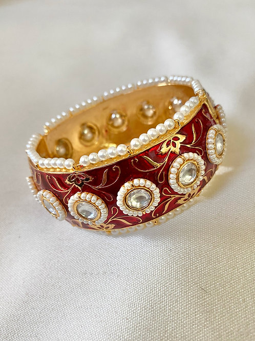 Gold and Red Hand-Painted Meenakari Bangle with Pearls