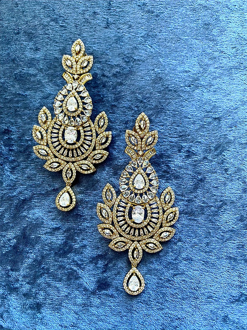 Zirconia Earrings on Antique Gold or Zirconia Earrings on Rose Gold