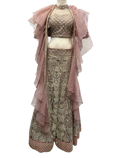 Mauve Machine silver thread work and Crystal Lehenga