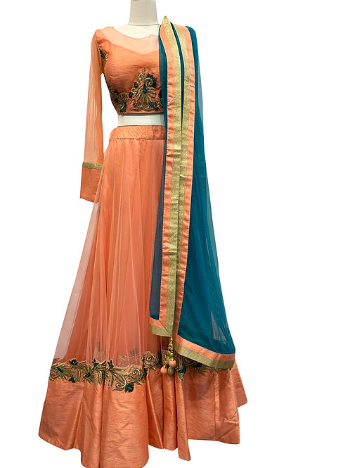 Peach Silk Net with Embroidery Lehenga