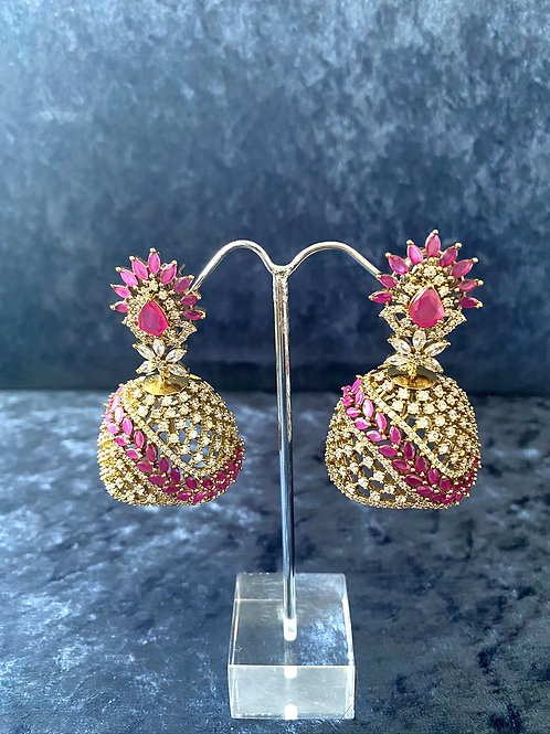 Zirconia Earrings with Ruby Stones or with Emerald Stones