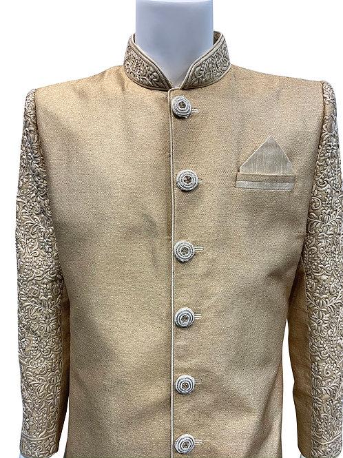 Beige Knitted Silk Sherwani
