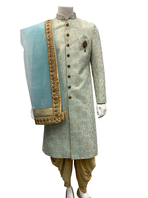 Light Green/Blue Embroidery Silk Fabric Sherwani
