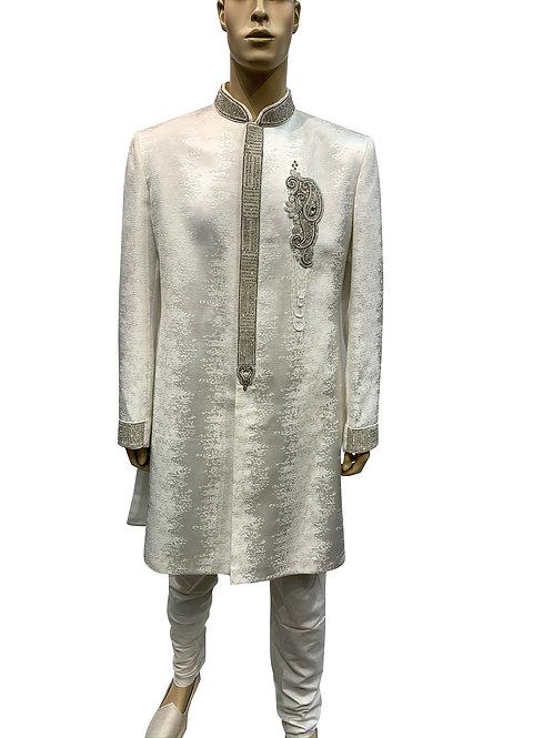White Blended Silk Sherwani