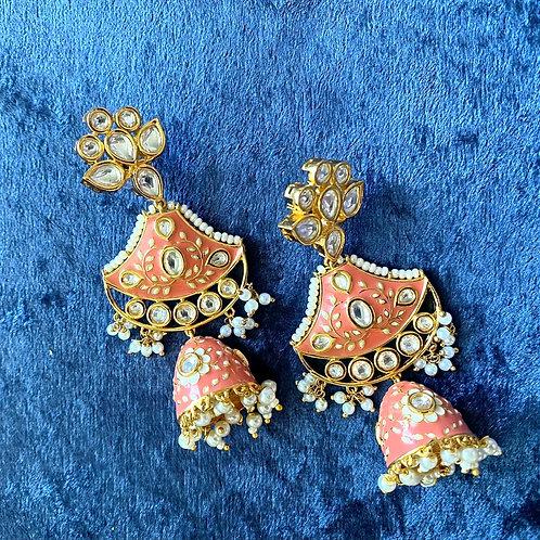 Peach Hand-Painted Meenakari Earrings with Pearls