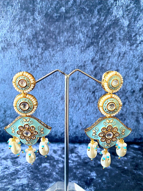 Hand-Painted Meenakari Earrings with Pearls in Sky Blue or White
