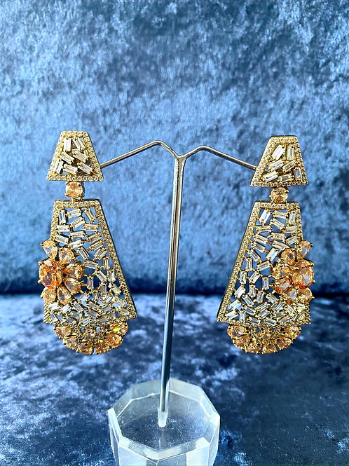 Zirconia Antique Gold Earrings in Antique Gold Finish