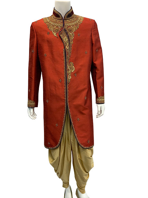 Red Sherwani with Gold Embroidery