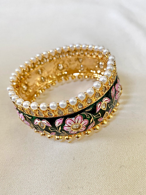 Green and Floral Pink Hand-Painted Meenakari Bangle with Pearls