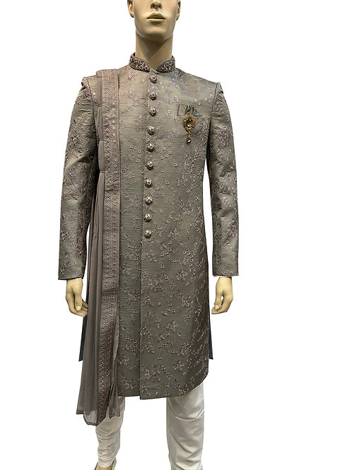 Grey Sherwani with light purple/pink Threadwork  Embroidery