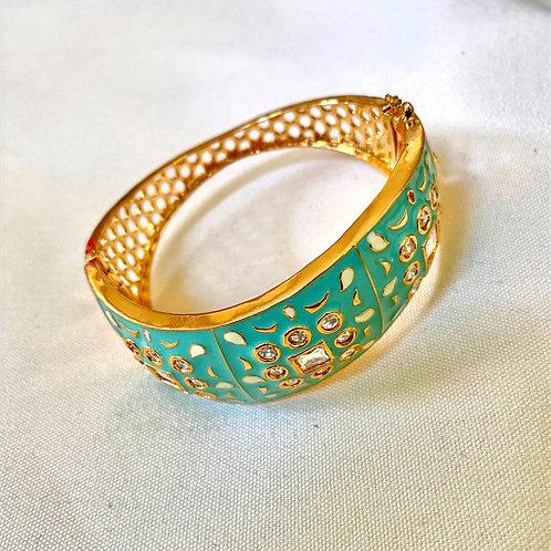 Gold and Teal Hand-Painted Meenakari Bangle