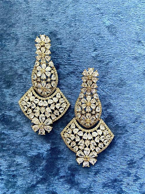 Zirconia Earrings on Antique Gold