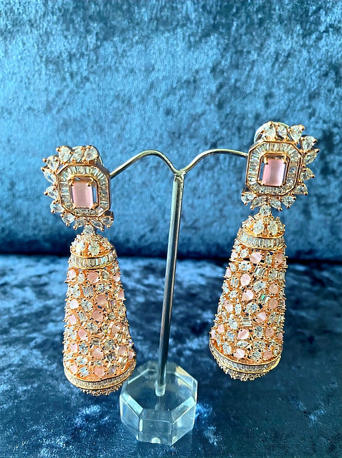 Pink and Zirconia Tubular Earrings in Rose Gold