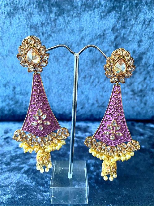 Hand-Painted Meenakari Earrings in Purple or Beige