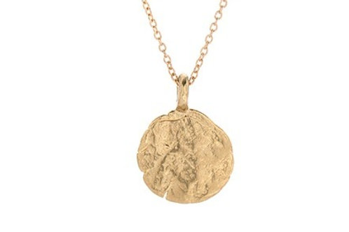 14k gold Western Wall Imprint Necklace - small (HWN3A_gold); Jewish Jewelry