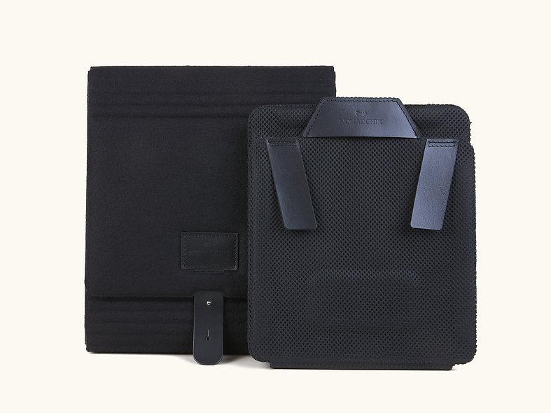 Pack 1 nuit Nomadchik Charbon noir, une Boîte à chemises et 1 Roule-Chemise pour plier et transporter ses chemises