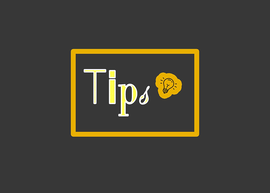 Tips text and a flying bulb