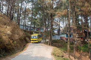 Yellow School bus in Nagarkot, Nepal