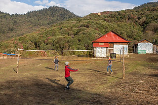 Playing Volleyball at Danda Kharka, Annapurna-Dhaulagiri Community Trail, Nepal