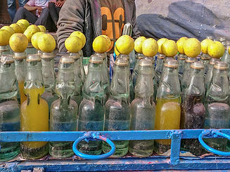 Drink with Lemon during Holi Festival, Kathmandu, Nepal