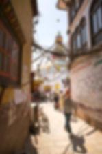 Road leading to Boudhanath Temple, Boudha Stupa, Katmandu Nepal