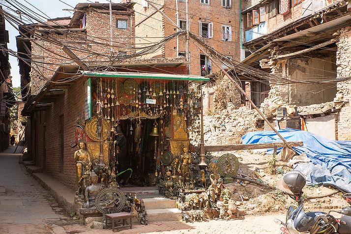 Earthquake devastation and souvenir shop in Bhaktapur, Nepal