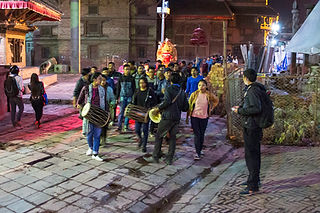 Procession with diety statue in Durbar Square, Kathmandu, Nepal